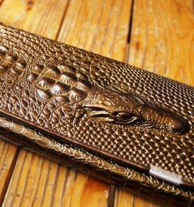 Кошелек под крокодила золотой
