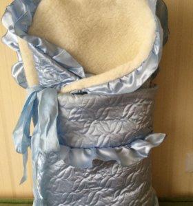 Конверт с одеялом на овчине зимний голубой