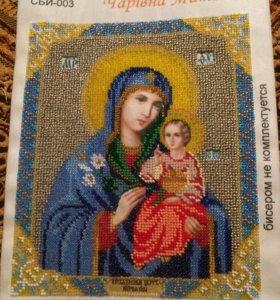 Икона казанской божьей матери , вышета бисером