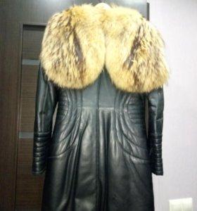 Пальто натуральная кожа на кролике