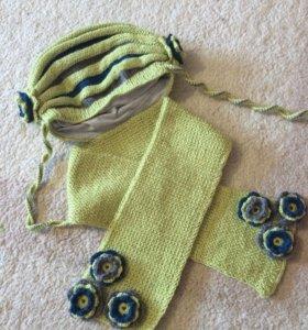 Комплект ручной работы Шапочка и шарф