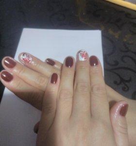 Покрытие ногтей гель лаком, по желанию рисую.