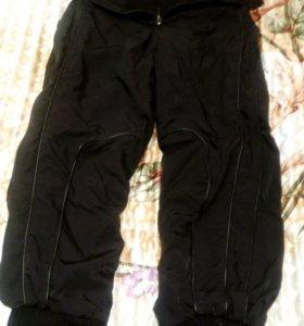 Утепленные фирменные штаны с высокой талией