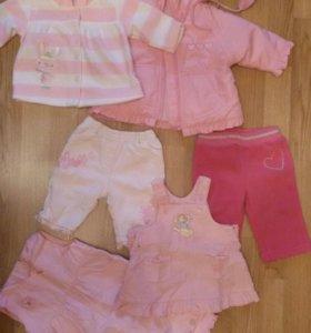 Одежда для девочки 0-3 месяца пакетом