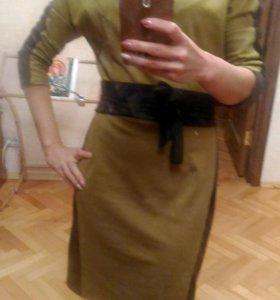 Платье двухцветное,теплое