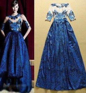 новое синее вечернее платье