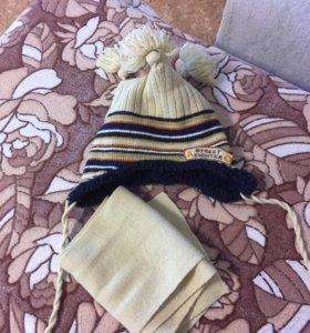 Зимняя шапка с шарфом до 1,5 лет