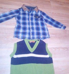 Рубашка + жилетка р.86