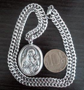 серебрянная цепь и кулон