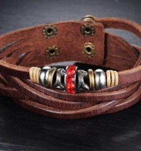 Унисекс кожаный браслет на руку напульсник из кожи