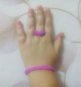 Плетеные кольцо и браслет