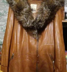 Женская кожаная куртка теплая