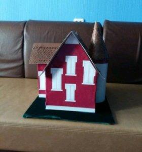 Праздничная коробочка (дом) для денег