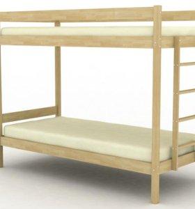 Кровать двухъярусная из массива берёзы № 5.1