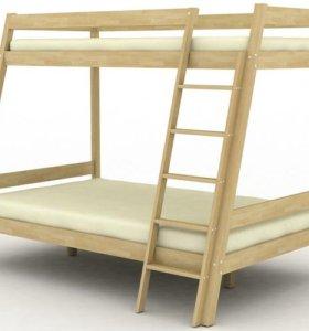 Кровать двухъярусная из массива берёзы № 6