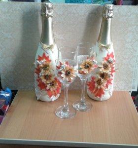 Оформлю свадебные бутылки и бокалы