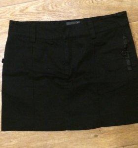 Черная классическая мини юбка xs s, 40-42 р.