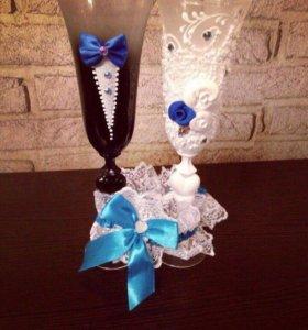 Свадебные бокалы+подвязка