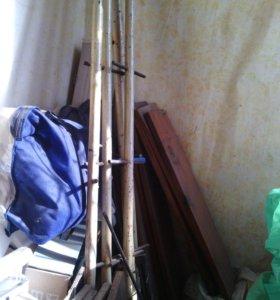 Стеллаж деревянно-металический
