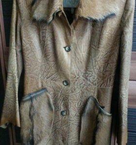 Пальто натуральная кожа и мех.