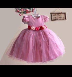 Шикарное атласное платье на принцессу 1-2 годика