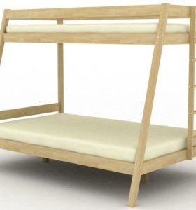 Кровать двухъярусная из массива берёзы № 6.1