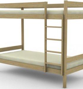 Кровать двухъярусная из массива берёзы №5