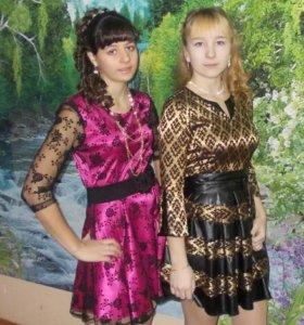 Платье с кожаной юбкой то что справа