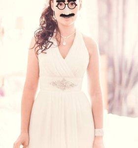 Платье свадебное в греческом стиле + полушубок