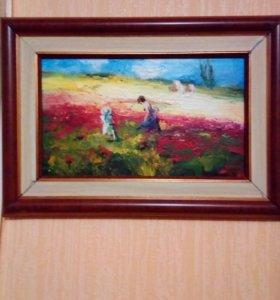 "Картина ""маковое поле"" холст масло"