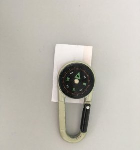 Жесткий компас- брелок (на карабине)серебро