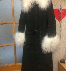 Стеганое пальто, мех натуральный