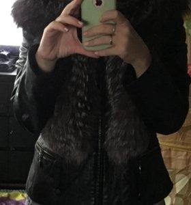 Кожаная куртка трансформер то-то с мехом чернобурк