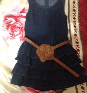 Платье джинсовое с жилеткой