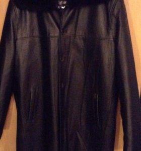 Мужское кожаное пальто на цигейке 54 размер