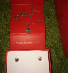 Серьги и цепочка с крестиком серебро 925