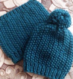 Вязанный комплект для мальчика (шапка+снуд)