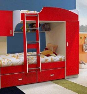 Кровать детская двухъярусная со шкафом