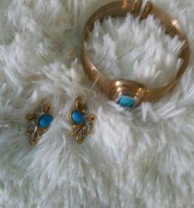 Комплект бижутерии (браслет и серьги) с бирюзой