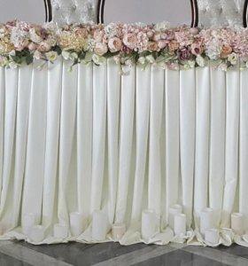 Юбка для оформления свадебного стола