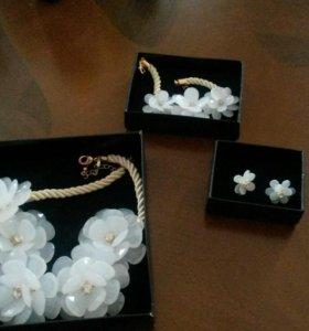 Ожерелье, браслет, серьги