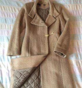 Пальто зимнее утепленное драп