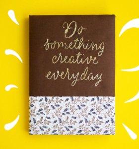 Скетчбук (блокнот) с золотой вышивкой. Крафт листы