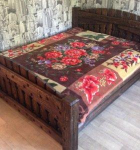Кровать двуспальная, массив сосны, ручная работа!