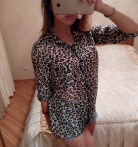 Рубашка блузка леопардовая Stradivarius
