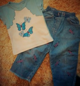 Комплект футболка+джинсики новый