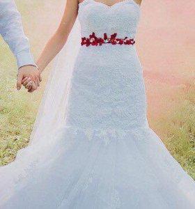 Шикарное свадебное платье +фата