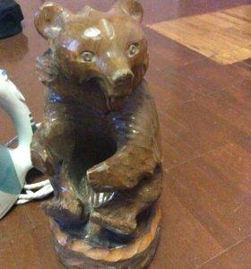 медведь из натурального дерева ручная работа