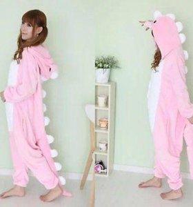 """Кигуруми пижама комбинезон """"Розовый динозавр"""""""