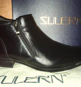 Ботинки кожаные на цигейке